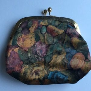 Vintage Velour/Velvet Pouch with soft leather line